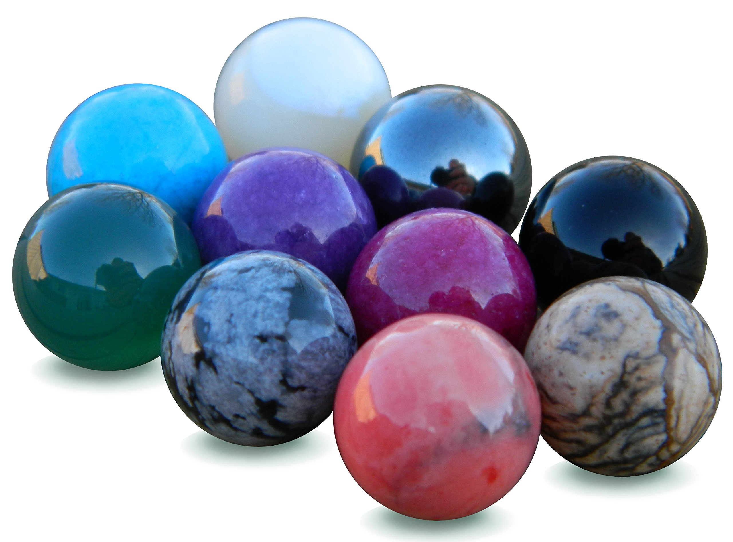 10mm Semi Precious Stones Marbles Balls Set by Trendy Stone Jewelry
