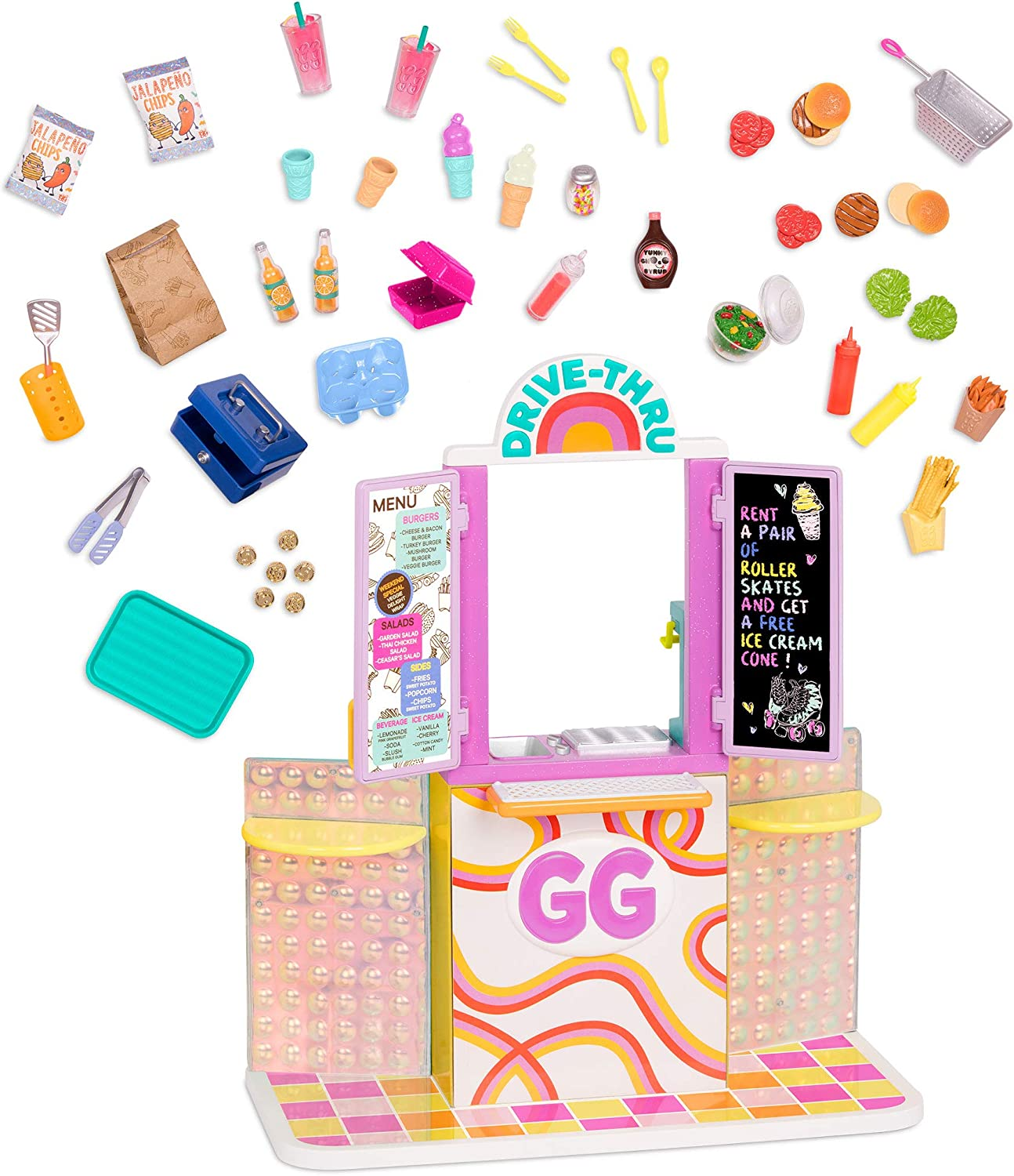 Glitter Girls Dolls by Battat – GG Drive-Thru Window Set – Deluxe Play Food & Pretend Restaurant Playset for 14-inch Dolls – Toys, Clothes, and Accessories for Kids Ages 3 and Up