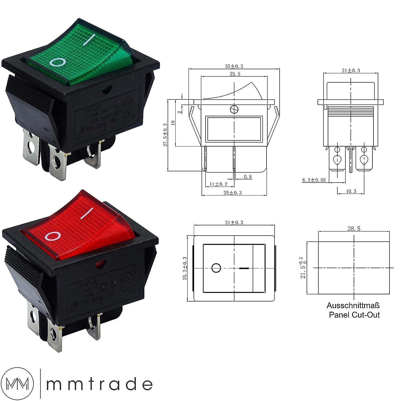 Wippschalter Wippschalter 4polig Beleuchtet 230V max.20A SnapIn Montage 10 Stück