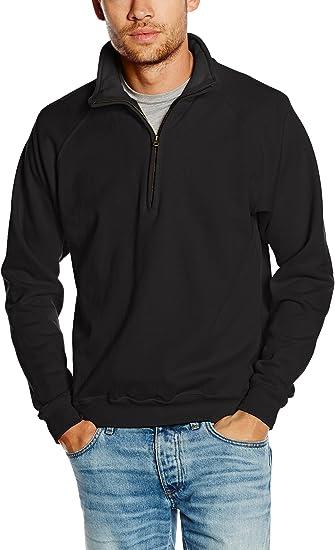 FOTL Men/'s Zip Neck Sweatshirt Premium Sweat Collar Quarter 70//30 Zip Neck Top