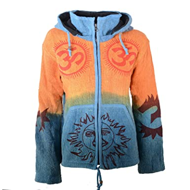 5eb5591db4f2 Kunst und Magie Unisex Strickjacke OM Batik mit abnehmbarer Zipfelkapuze   Amazon.de  Bekleidung