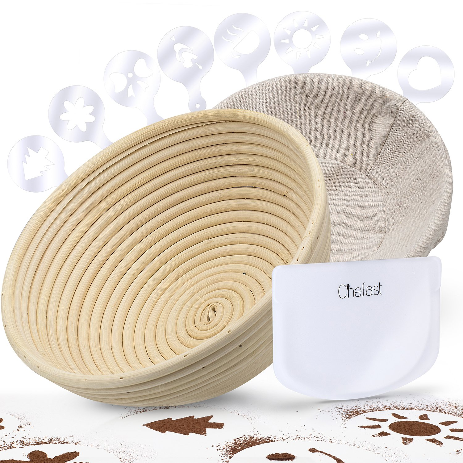 "Chefast Banneton Proofing Basket Set: Combo Kit of 9.5"" Natural Rattan Basket with Brotform Cloth Liner, 8 Bread Stencils and Dough/Bowl Scraper + Instructions - Make Perfectly Round Sourdough Boules"