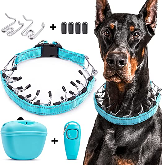 PETAOWU-Prong Collar for Dogs Adjustable Within 25.5in-- Dog Training Tools Set Inclue Prong Collar + Dog Treat Pouch+ Dog Training Clickers-Dog Collars for Large Dogs(Blue, X-Large)