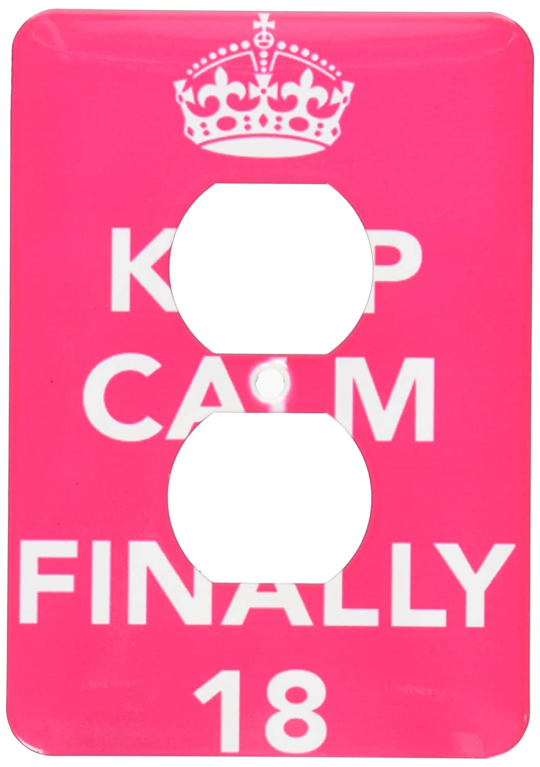 3dRose lsp/_163837/_6 Keep Calm Im Finally 18 Pink 2 Plug Outlet Cover