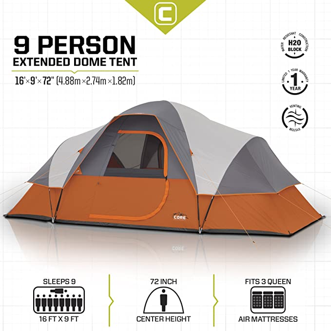 CORE 9 Person Extended Dome Family Camping Tent