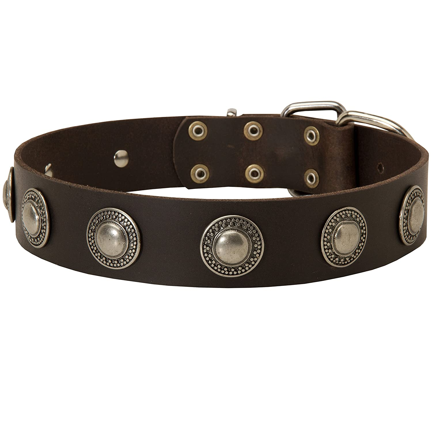 Black fits for 33 inch dog's neck size Black fits for 33 inch dog's neck size 33 inch Handcrafted Black Leather Dog Collar with Nickel Plated Brooches  True Jewel  1 1 2 inch (40 mm) wide