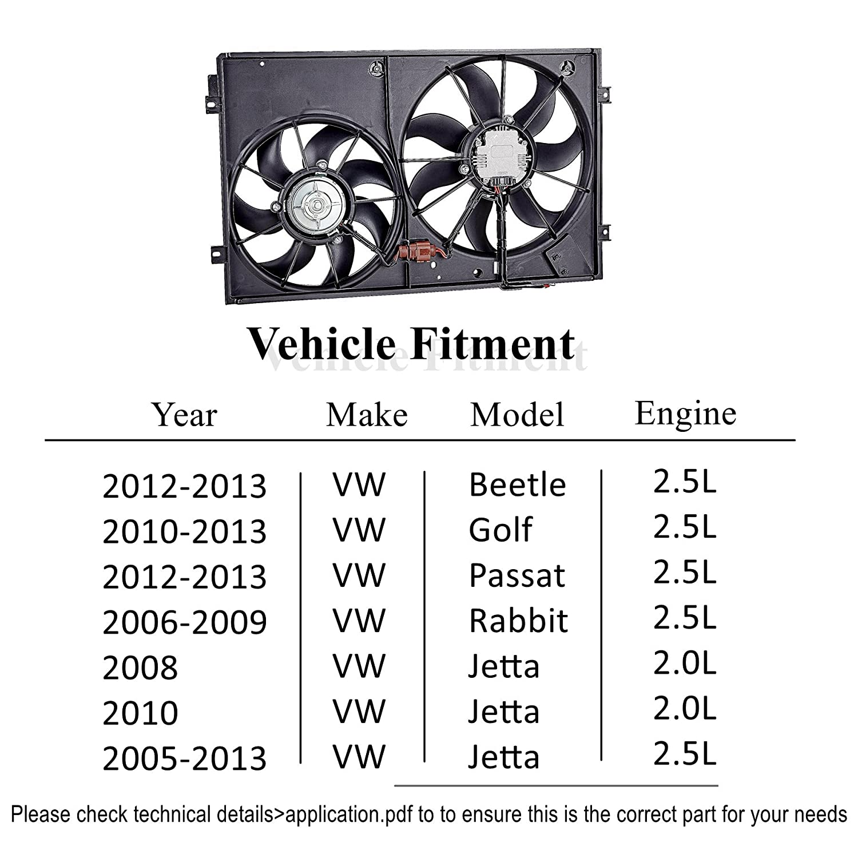 Orionmotortech Vw3120100 Oem Engine Radiator Cooling Fan Ac Compressor Wiring Plug Pigtail 9299 Vw Jetta Golf Gti Passat Assembly Low Noise For Volkswagen Automotive