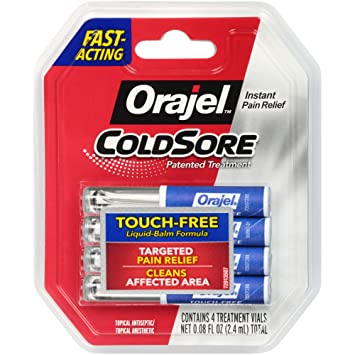 Orajel Touch-Free Cold Sore Patented Treatment, with Applicator, 0 08oz, 4  Vials