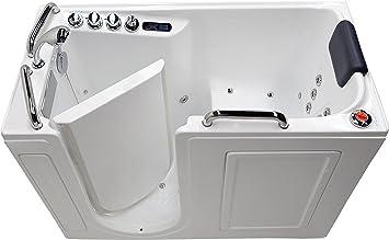 27 X 53 Left Drain Air Whirlpool Fully Loaded Walk In Bathtub 2753 White Tub Amazon Com