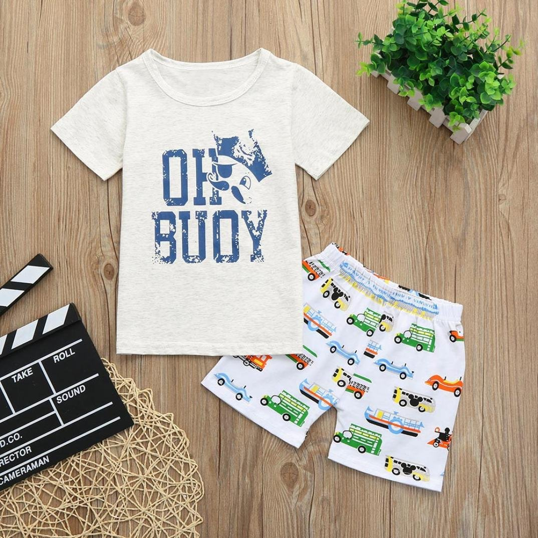 Vinjeely 2PCS Toddler Baby Boys Summer Clothes Letter T-Shirt Top+Cartoon Car Boat Print Shorts Outfits