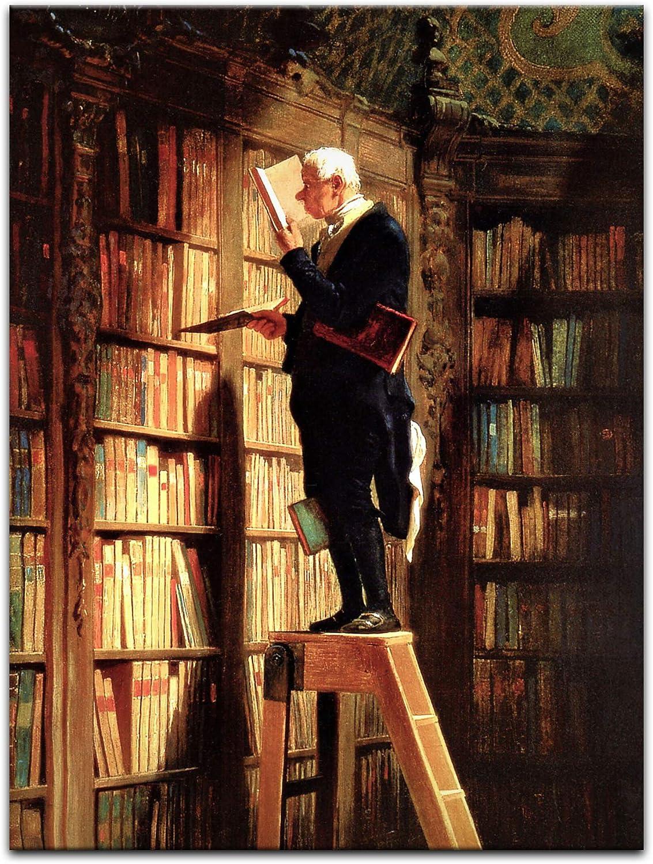 Bilderdepot24 Imagen Lienzo Foto Carl Spitzweg - Viejos Maestros El ratón de Biblioteca 60x80 cm - Totalmente Enmarcado, Directamente del Fabricante: Amazon.es: Hogar