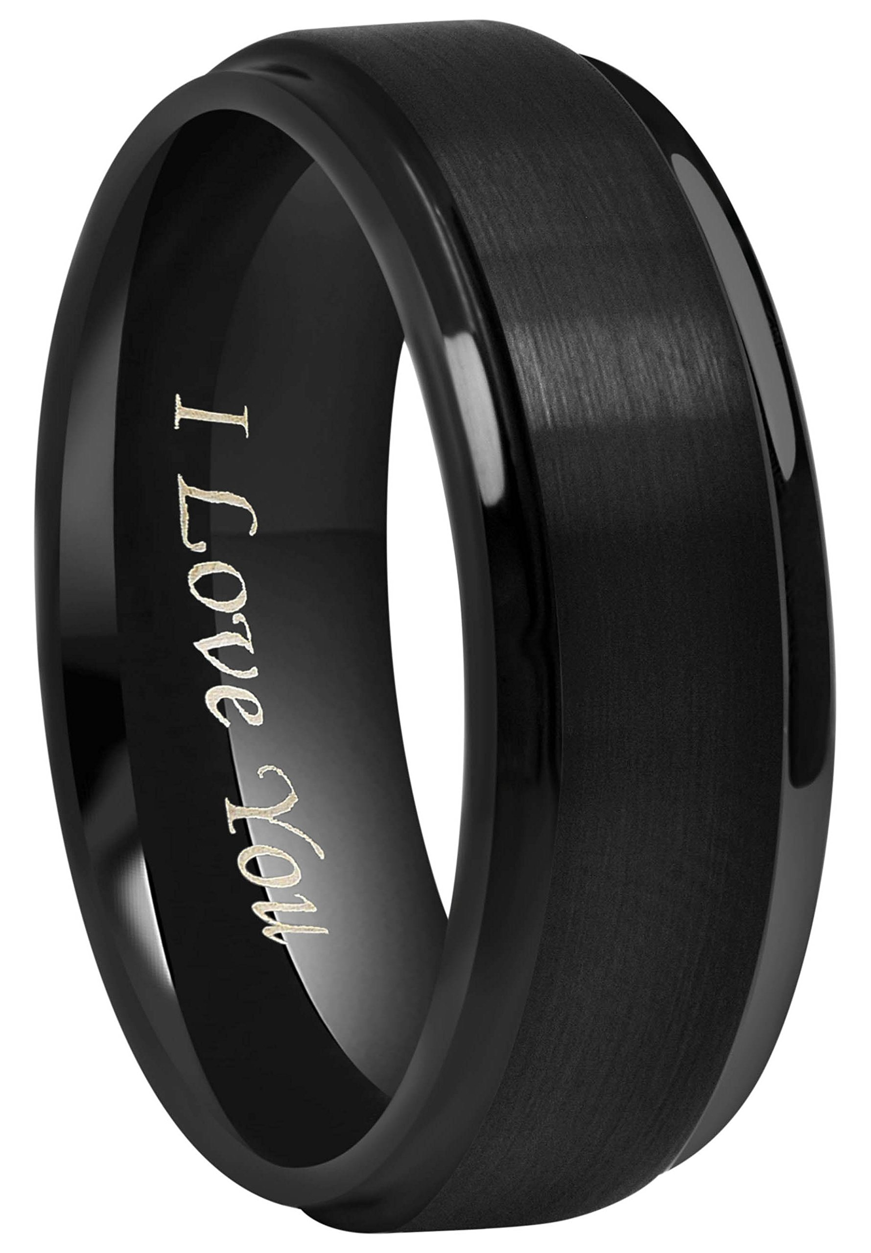Crownal 6mm 8mm 10mm Black Tungsten Wedding Band Ring Engraved ''I Love You'' Men Women Step Down Edges Brushed Finish (8mm,12.5)