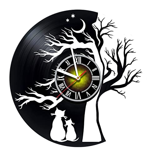Toffy Workshop Lovely Cats at Night Under The Tree Vinyl Record Wall Clock – Exciting Guest Room Decor idea for Children, Adults, Men and Women