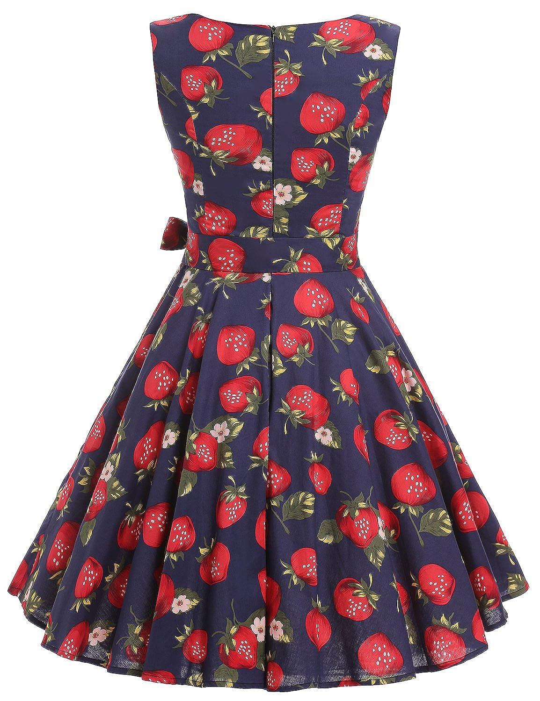 VKStar Vintage 50er Rockabilly Stil Kleid ärmellos Audrey Hepburn ...