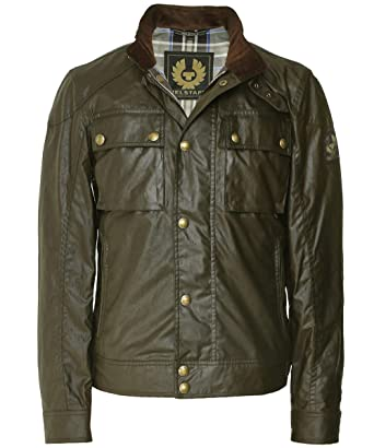 793737edfae Belstaff Men's Waxed Cotton Racemaster Jacket Green at Amazon Men's Clothing  store: