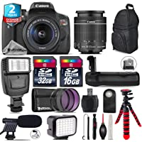 Canon EOS Rebel T6i DSLR Camera with 18-55mm Lens + Battery Grip + Shotgun Microphone + LED Kit + 2yr Extended Warranty + 32GB Class 10 Memory Card + Backpack + 16GB Class 10 - International Version