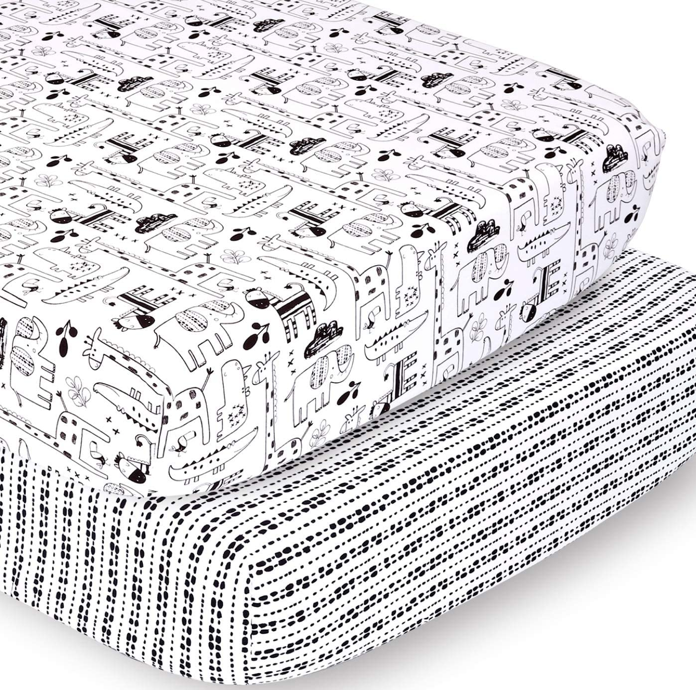 The Peanutshell Fitted Crib Sheet Set | Zoo Animals and Tribal Stripes | 2 Pack Set