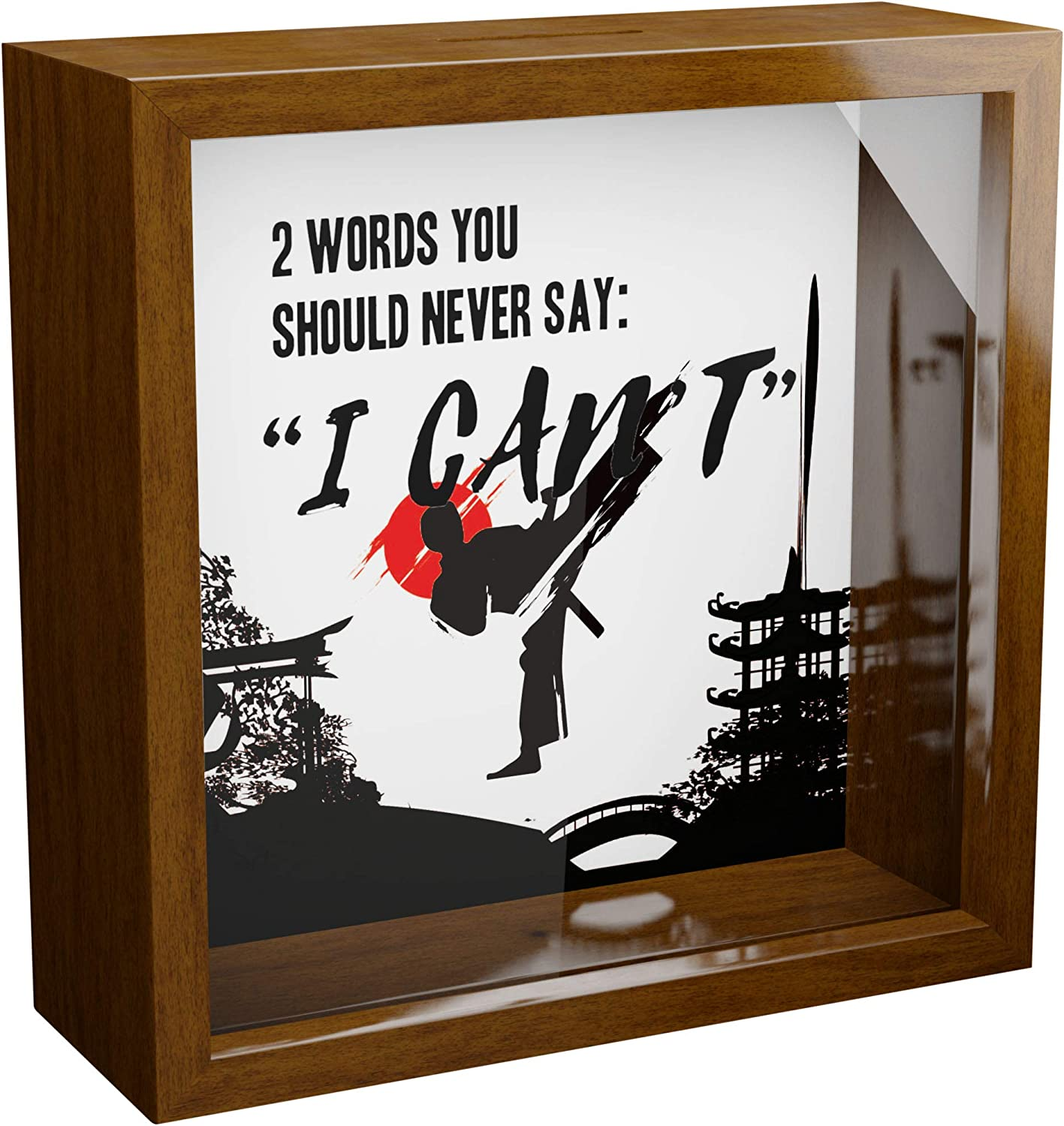 Karate Gifts | 6x6x2 Memory Shadow Box with Glass Front | MMA Wall Decor Keepsake Box | Martial Arts Lovers Artwork Frame | Special Karate or Taekwondo Present for Women or Men