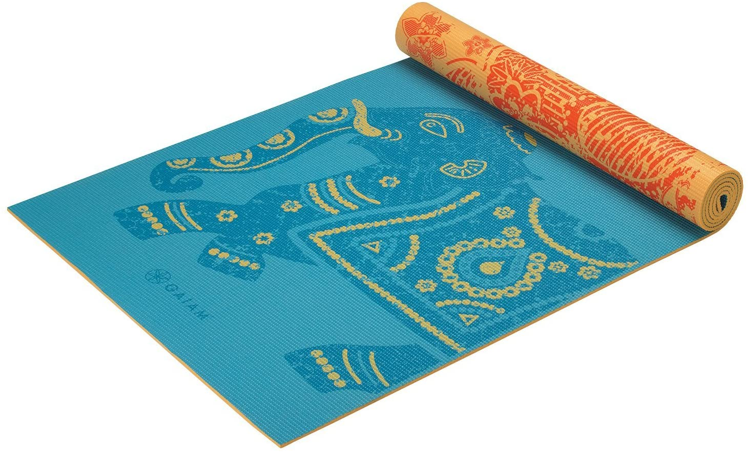 """Gaiam Yoga Mat - Premium 6mm Print Reversible Extra Thick Non Slip Exercise & Fitness Mat for All Types of Yoga, Pilates & Floor Workouts (68"""" x 24"""" x 6mm Thick)"""