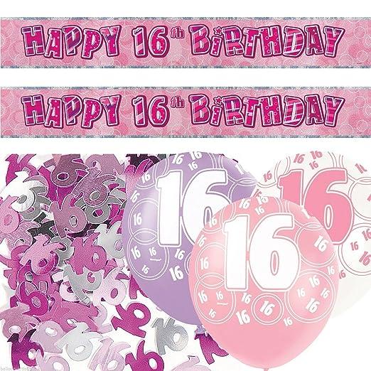 Rosa Plata niña Happy 16th cumpleaños Banner Party Juego de ...