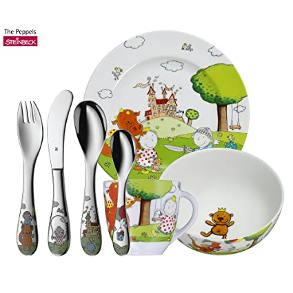 WMF The Peppels - Vajilla para niños 7 piezas, incluye plato, cuenco, taza