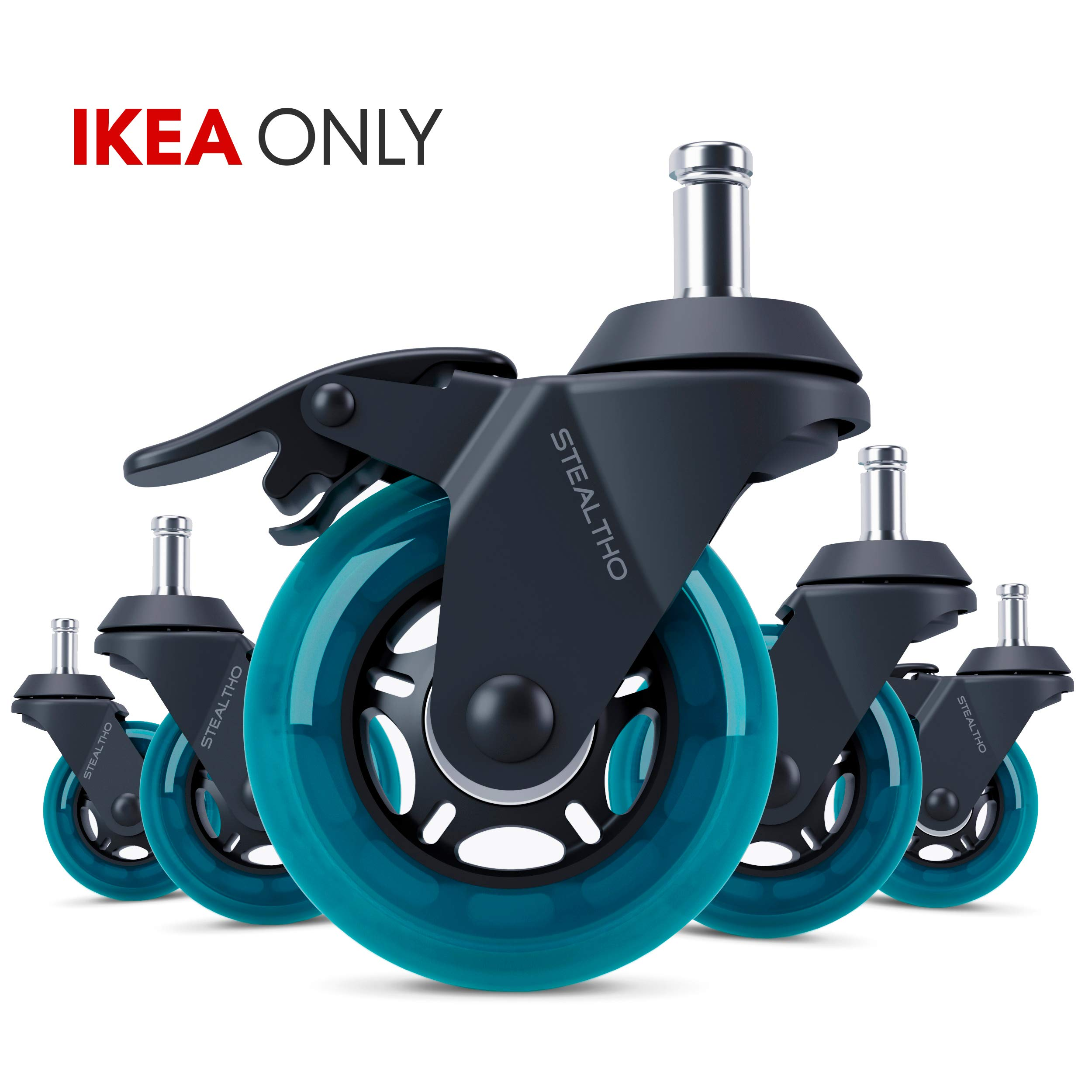 STEALTHO Replacement IKEA Office Chair Caster Wheels Set of 5 - Protect Your Floor - Quick & Quiet Rolling Over The Cables - No More Chair Mat Needed - with Brakes - Blue Polyurethane - IKEA Stem 3/8''