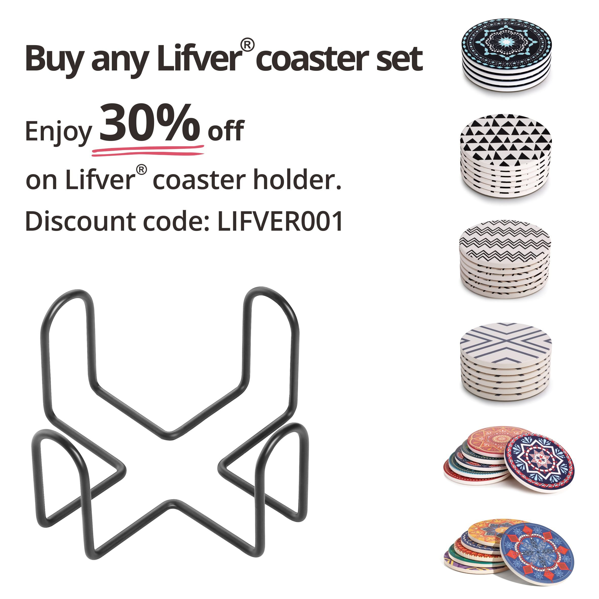 Lifver 4.5 Inch Black Iron Metal Coasters Holder For Both Round and Square Coasters, Hold Up To 7 Lifver Coasters by Lifver (Image #5)