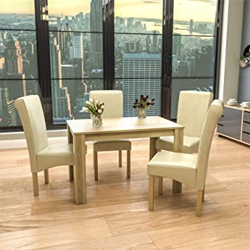 newest collection 624eb fd039 Vida Designs Medina 4 Seater Dining Table Oak & Clifton 4 PU Faux Leather  Cream Dining Chairs Modern Kitchen Dining Room Furniture Set