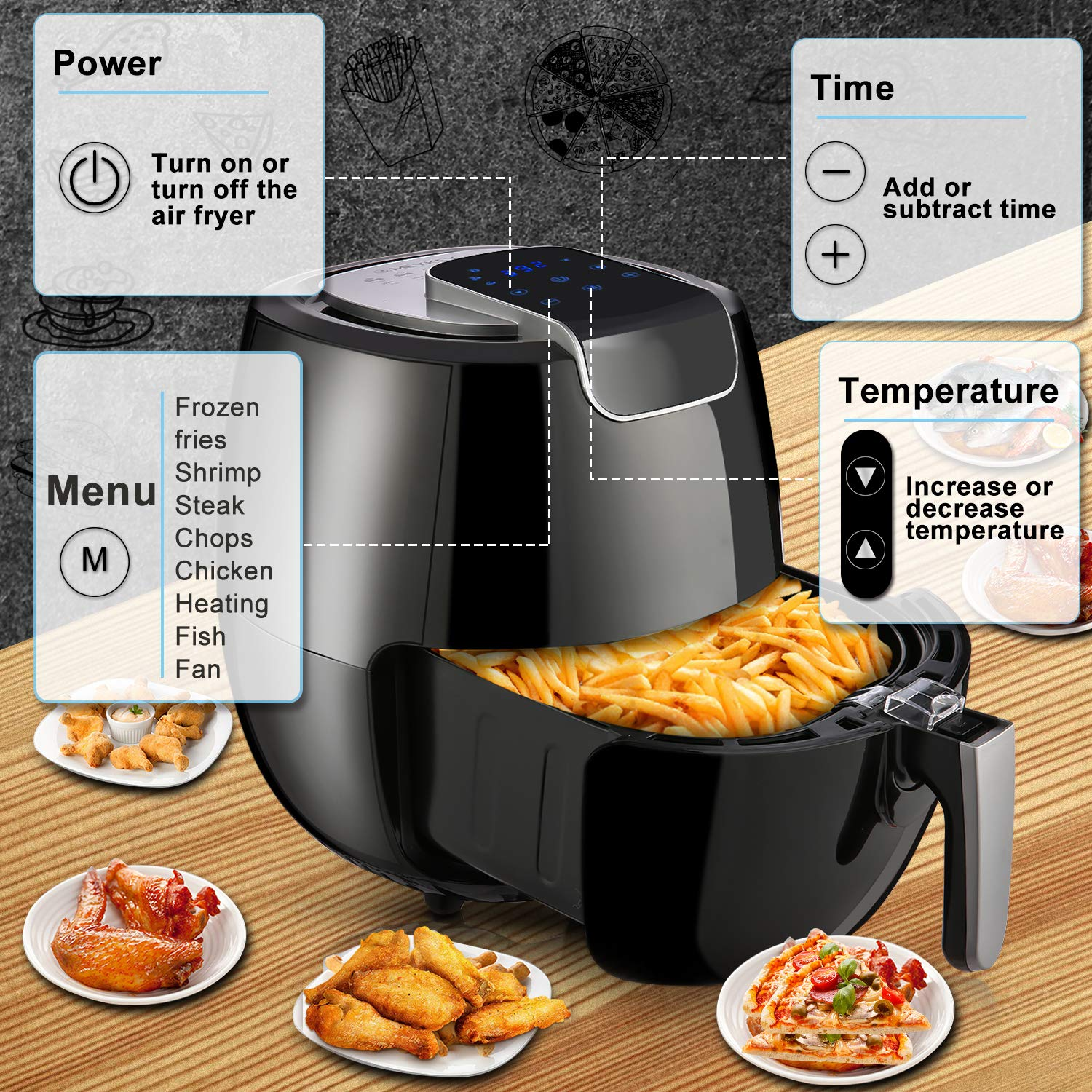 Air Fryer XL 6.8QT, 1800W Electric Hot Air Fryers Oven Oilless Cooker, LCD Digital Touchscreen, 8 Cooking Presets, Preheat & Nonstick Basket for Fast Healthier Fried Food by Hauture (Image #2)