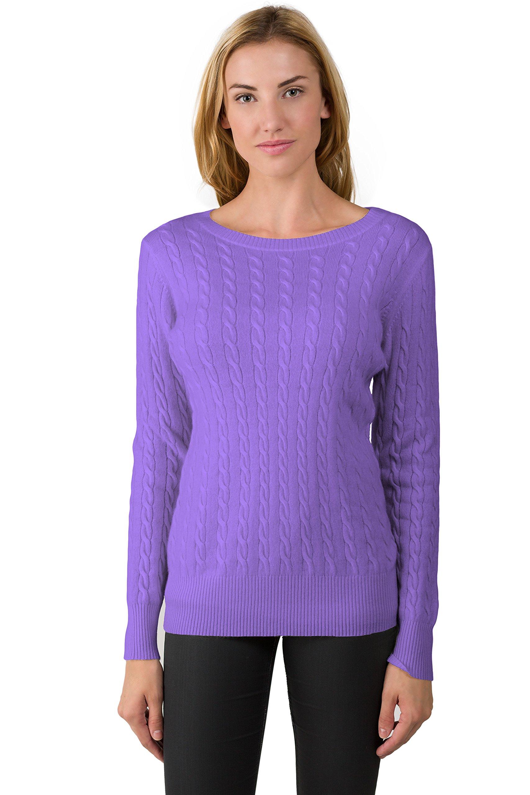 J CASHMERE Women's 100% Cashmere Long Sleeve Pullover Cable Crewneck Sweater (S, Lavender)
