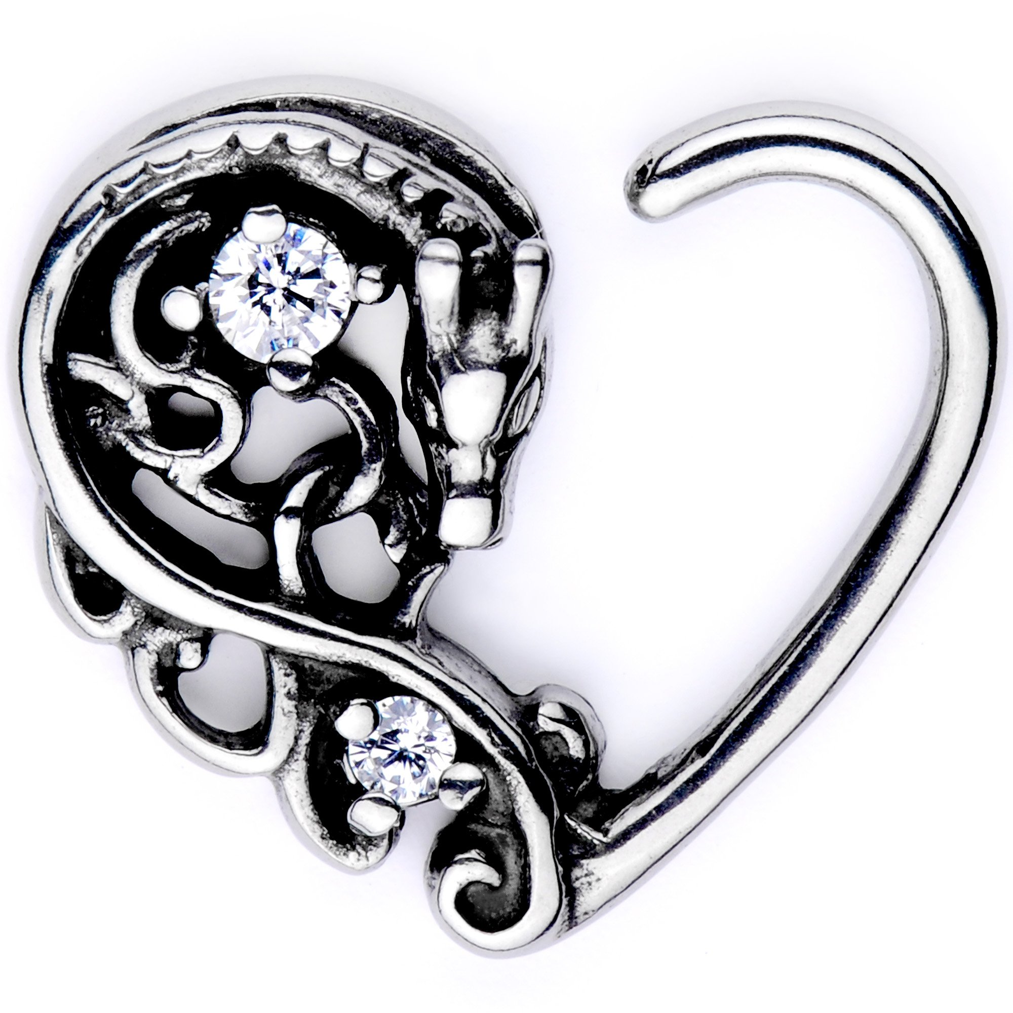 Body Candy Body Piercing Jewelry Stainless Steel 16G Right Closure Daith Cartilage Dragon Heart Tragus Earring by Body Candy