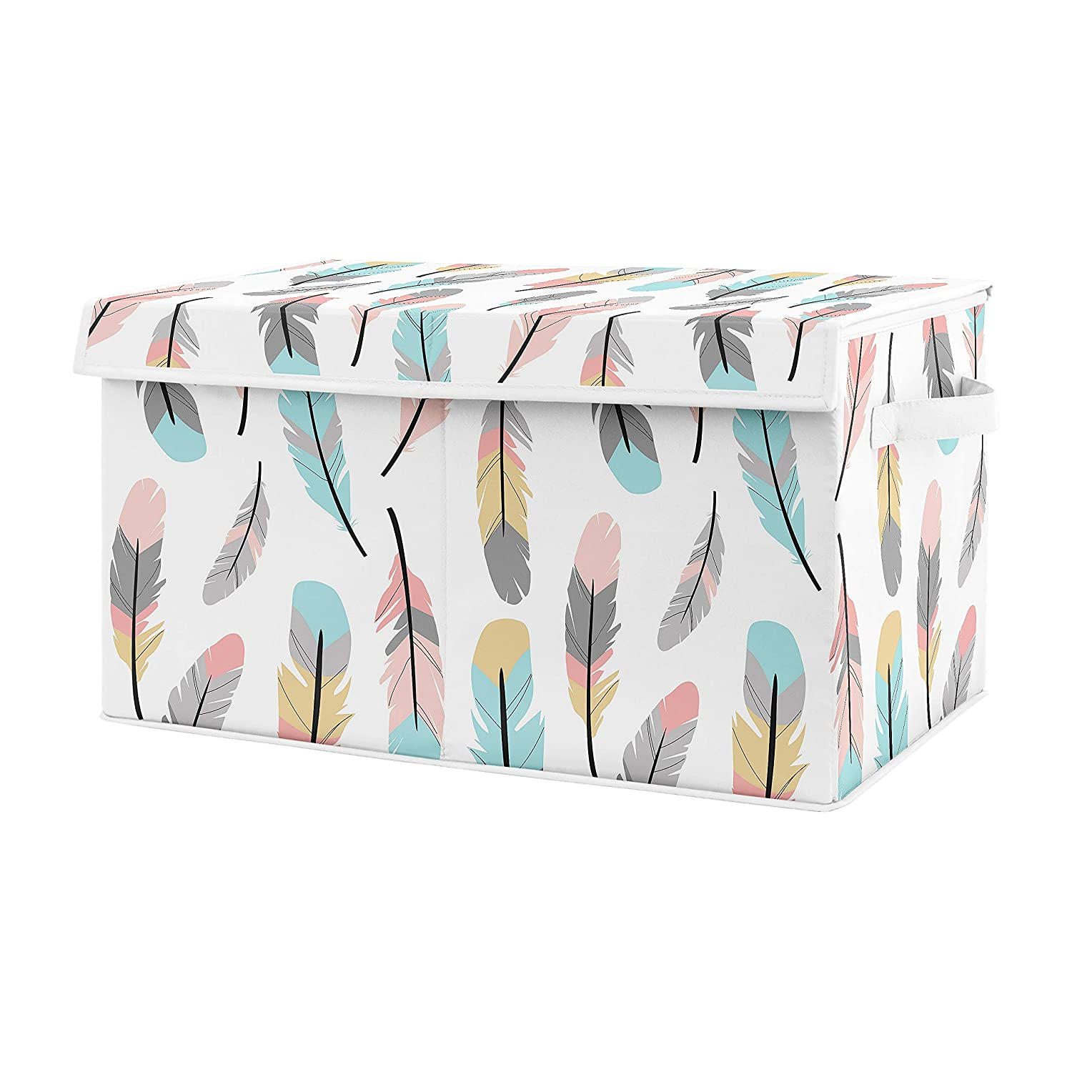 Sweet Jojo Designs Turquoise and Coral Boho Girl Baby Nursery or Kids Room Small Fabric Toy Bin Storage Box Chest for Feather Collection