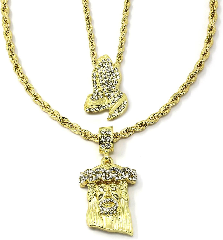 Mens Gold Plated High Fashion Prayer Hands /& Jesus Cz Bundle Set 3024inch Rope Chain