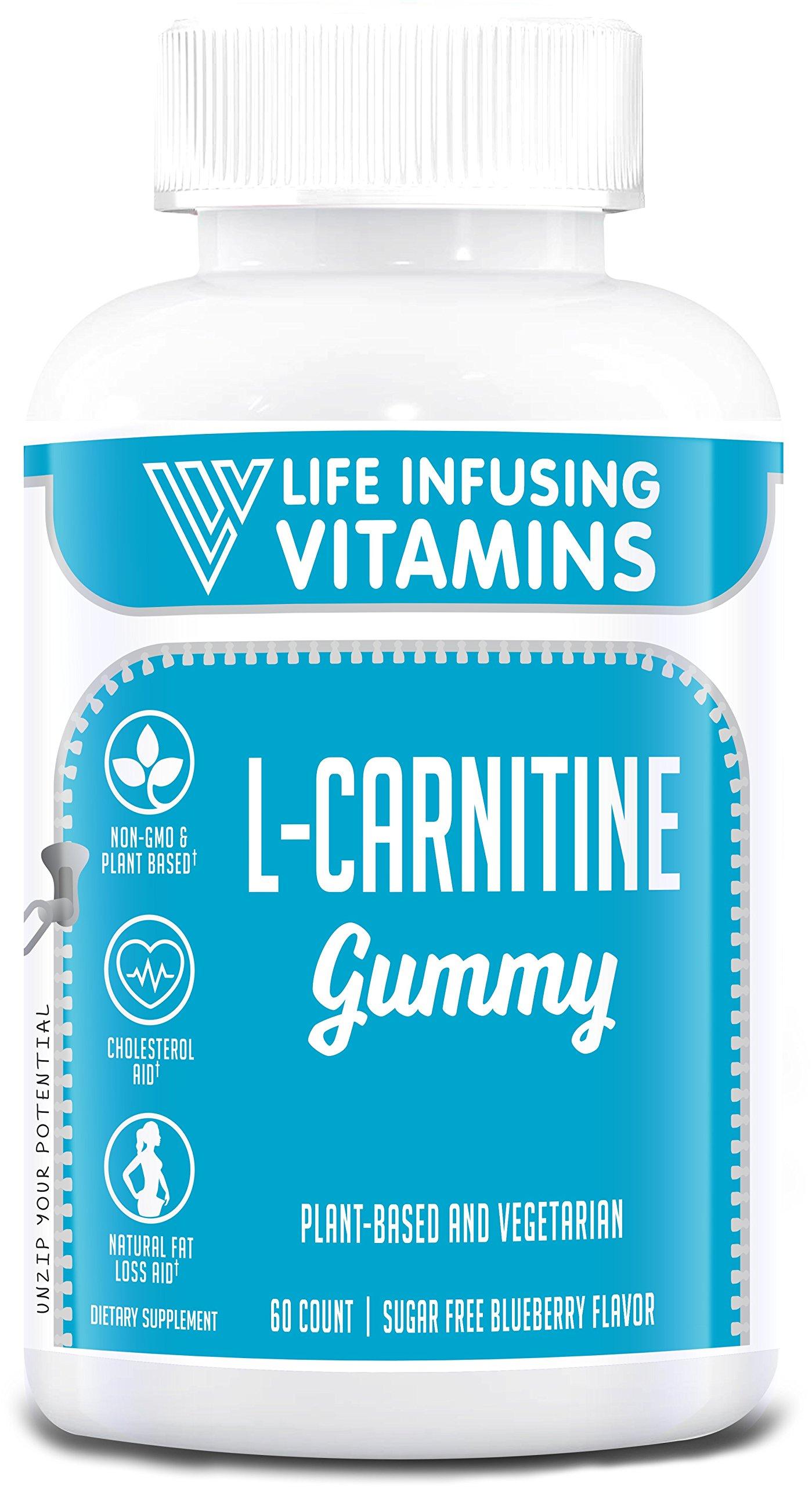 L-Carnitine Gummy, Extra Strength, 500mg, Plant Based, Vegetarian, Halal, Kosher, Sugar Free Blueberry Flavor by Life Infusing Vitamins (LIV)