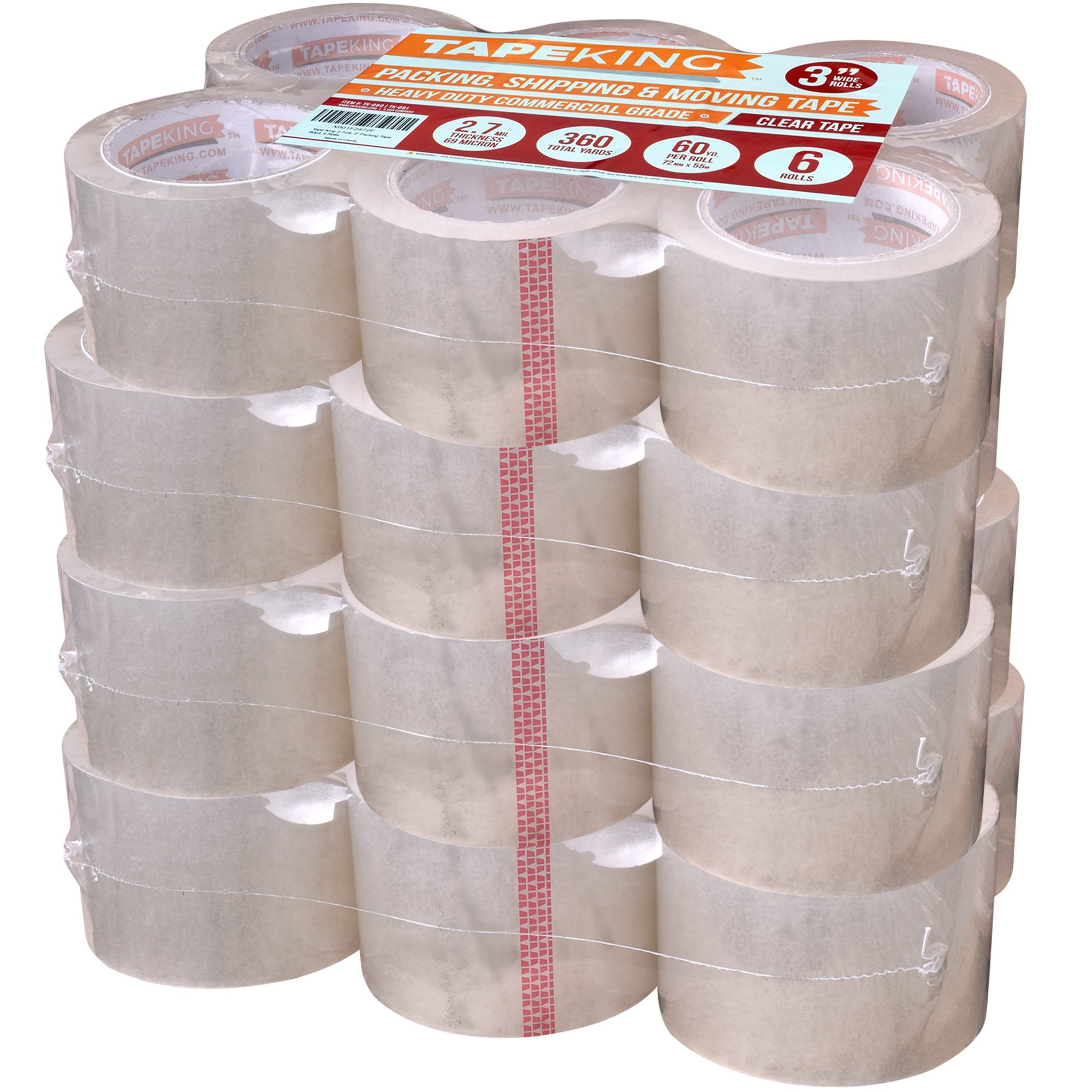 Tape King Clear Packing Tape 3 Inch Wide (Case of 24 Rolls) - 60 Yards Per Refill Roll, (2.7mil Thick) Strong Sealing Adhesive Industrial Depot Tapes for Moving, Packaging, Shipping, Office & Storage by Tape King
