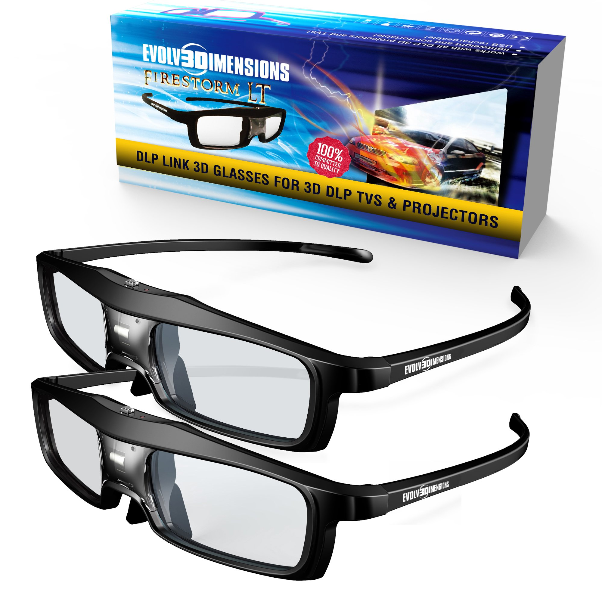 Evolved Dimensions (previously True Depth 3D) NEW Firestorm LT Lightweight Rechargeable DLP link 3D Glasses for All 3D Projectors (Benq, Optoma, Acer, Vivitek, Dell Etc) and All DLP HD 3D TVs (Mitsubishi, Samsung Etc) Compatible At 96 Hz, 120 Hz and 144 H by Evolved Dimensions