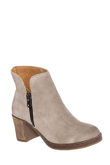 MTNG Women's Becca Block Heel Leather Ankle Booties Wax Antique Silver 6 B(M) US/36 EU