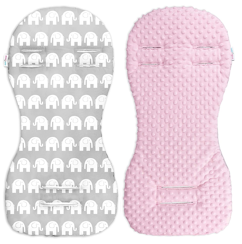 Babymam Universal Minky Liner Pram Stroller Pad 73x35cm (Grey/Pink Grey Stars)