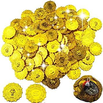 Piezas Angular Plástico Oro Monedas Falsas Bestzy Juguete 100 Moneda vN0Pm8Onwy