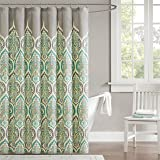 Madison Park 220-Thread-Count Cotton Sateen Nisha Shower Curtain, 72 x 72 Inch, Teal