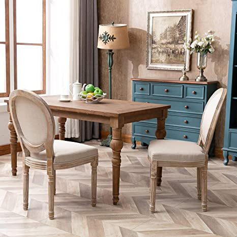 Amazon Com Chairus French Dining Chairs Distressed Elegant Tufted Kitchen Chairs With Carving Wood Legs Round Back Set Of 2 Beige Chairs