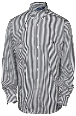 112493a5742 Polo Ralph Lauren Men s Big   Tall Stripe Button Down Shirt-Black White at  Amazon Men s Clothing store