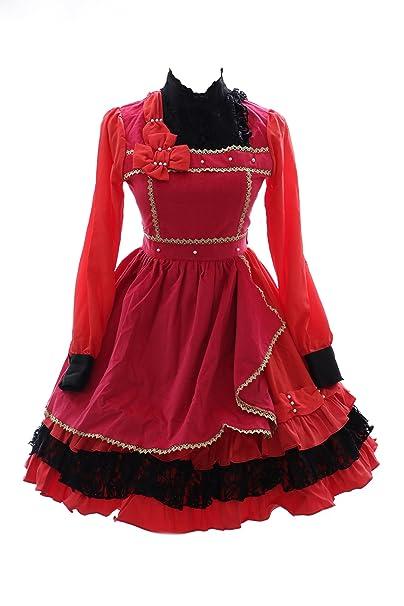 Kawaii-Story - Vestido - Trapecio - para Mujer Rojo 38