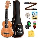 Donner Soprano Ukulele Beginner Kit Mahogany 21 inch Ukelele Set with Free Online Lesson and Ukulele Accessories Gig Bag…