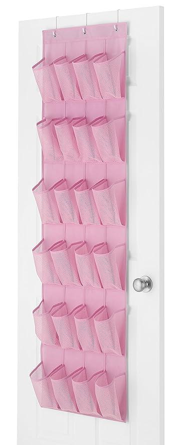 Whitmor 24 Pocket Over The Door Shoe Organizer Pink