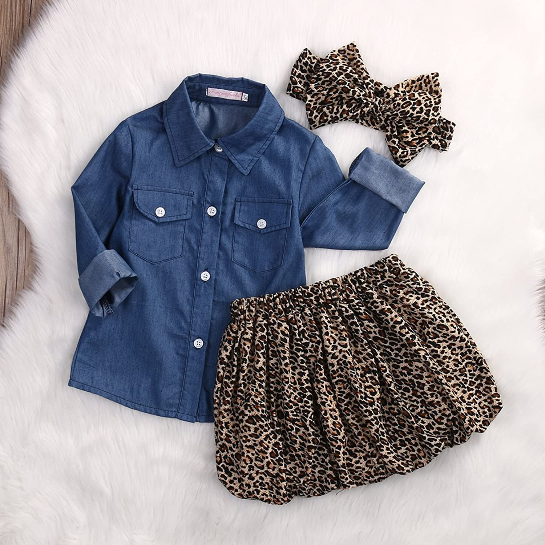Amazon 3pc Cute Baby Girl Blue Jean Shirt Leopard Print Short