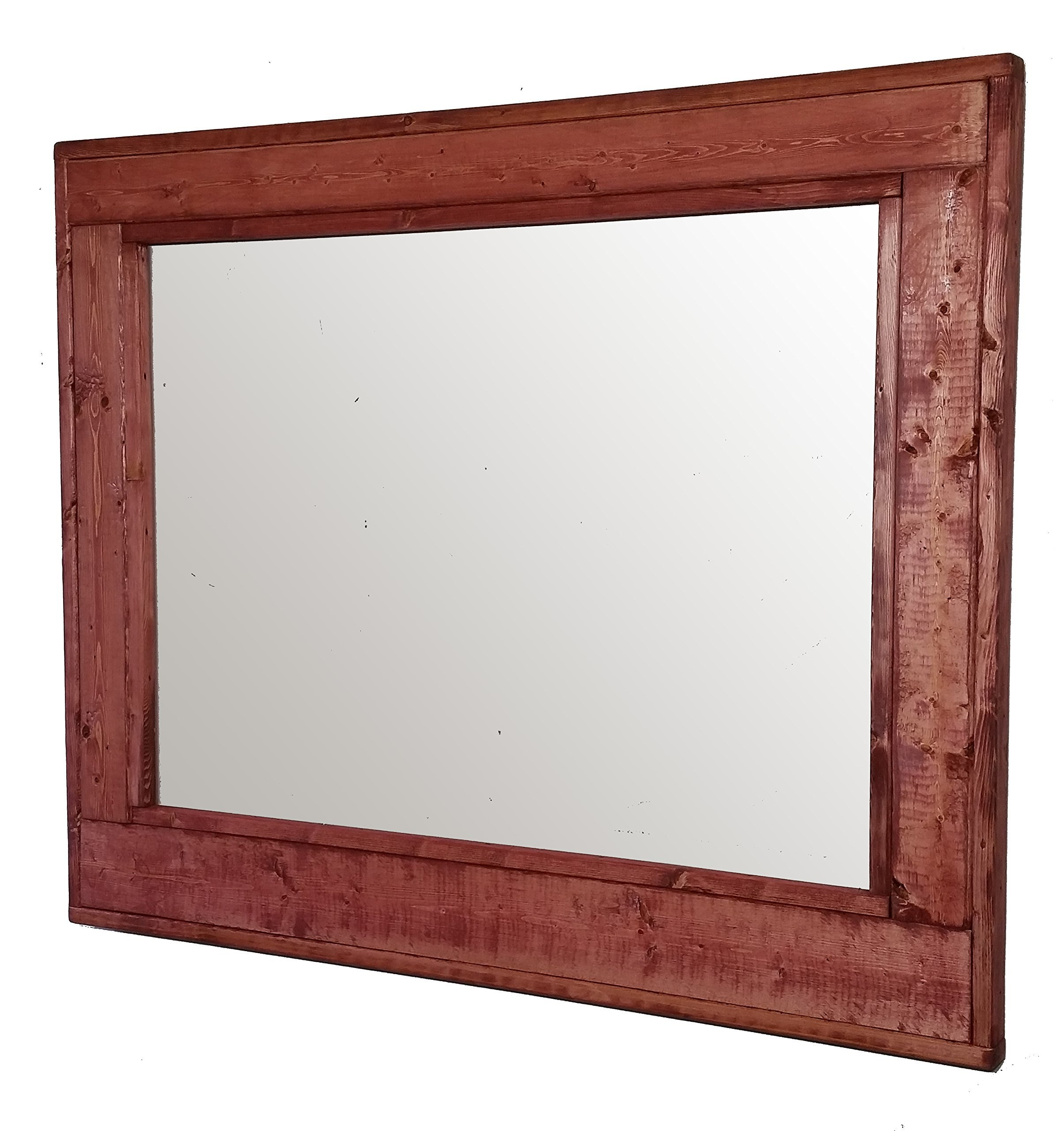 Herringbone 36 x 30 Horizontal Framed Mirror Stained in Sedona Red - Reclaimed Wood Mirror - Large Wall Mirror - Rustic Modern Home - Home Decor - Mirror - Housewares by Renewed Decor