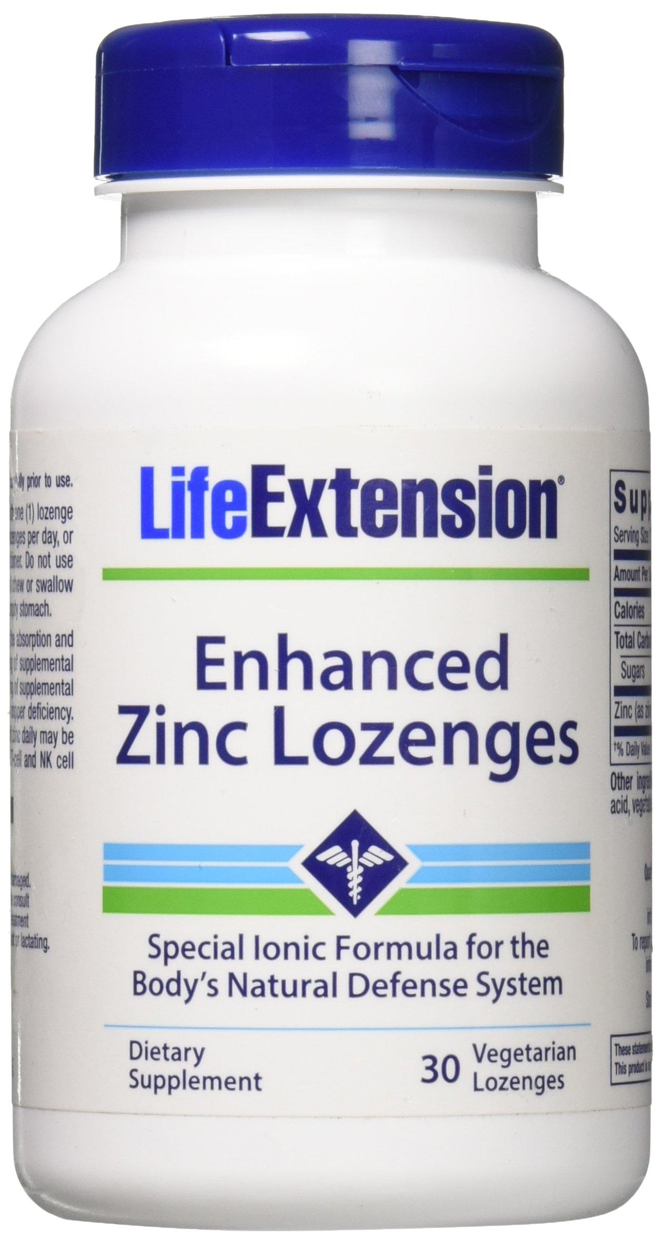 Life Extension Enhanced Zinc Vegetarian Lozenges, 30 Count