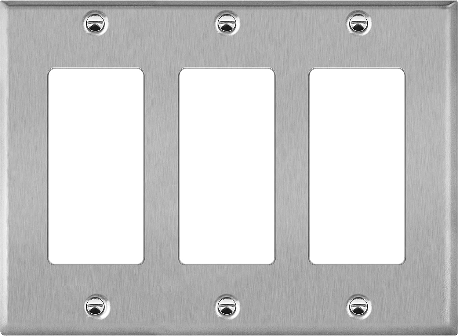 "ENERLITES Decorator Switch or Outlet Metal Wall Plate, Corrosion Resistant, Size 3-Gang 4.50"" x 6.38"", UL Listed, 7733, 430 Stainless Steel, Silver"