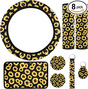 2 Pieces Sunflower Car Vent Clips Sunflower Steering Wheel Cover Gear Shift Cover 2 Pieces Key Rings 9 Pieces Universal Sunflower Car Accessories Set Handbrake Cover 2 Pieces Seat Belt Covers